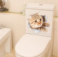 ingrosso adesivi da bagno-Spedizione gratuita 3D diversi gatti Wall Sticker per bagno soggiorno bagno frigorifero decorazione animale decalcomanie autoadesivo di arte Poster da parete