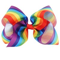 "Wholesale Cute Hair Clips For Babies - 8 Inch 5"" Hair Bow Boutique Large Rainbow Hair Bows Hair Clip Cute Bows For Baby Girls"
