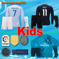 Wholesale Yellow Long Sleeve Shirt Xs - thailand 2017 2018 Real Madrid Soccer Jerseys sets kids kits 17 18 long sleeve maillot de futbol Football Shirts RONALDO Camiseta uniforms