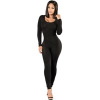 Wholesale Womens Winter Overalls - Wholesale- Rompers Womens jumpsuit New 2016 Winter Long Sleeve Full Length Black O-neck Sexy Club Black Bodycon jumpsuits And Overalls