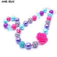 Wholesale flower necklace sets - MHS.SUN Teal+Hot Pink Kid Chunky Necklace&Bracelet Set Big Rose Flower Children Girl Toddler Bubblegum Chunky Bead Necklace Jewelry Set