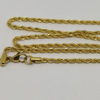 Wholesale Stainless Steel Twist Chain - 18K IP GOLD PLATED fashion high quality 27 inch stainless steel twist rope chain necklace with lobster clasp for men