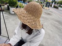 Wholesale Sun Hood - Handmade Crochet Ladies Hats Big Cap Hooded Beach women Cap Seaside Holiday Simple Sunshade Sun Hood