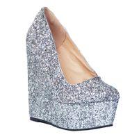 Wholesale silver wedge dress shoes women resale online - Zandina Hot Sale Womens Fashion Handmade cm Wadge High Heel Platform Glitter Slip on Party Pumps Shoes Silver XD087