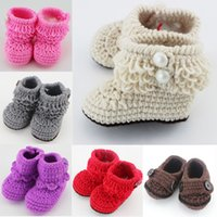 Wholesale Knitted Shoes For Toddlers - Wholesale- Retail 6 Colors for choice Newborn Toddler First Walker Shoes Crochet Knitted Booties Baby Winter Warm Crib Shoes