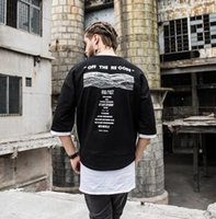 Wholesale Male Half Tee Shirts - summer new Half t shirt kanye fashion hip hip long swag male casual High quality Rock patchwork t shirt top tees