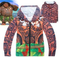 Wholesale Princess Sweatshirts - Spring FALL Boys Girls T-shirt Moana Sweatshirt Girls Hoodies For Boys Long Sleeve T-shirt Maui Moana Princess Costumes Kids Tops 3-10Y