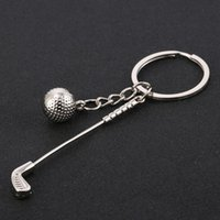 Wholesale Golf Keyring - 10PCS High Quality Exquisite Golf Style Keyring Creative Alloy Keychain Purse Bag Buckle For Car Party Gift Keyfob Jewelry J023