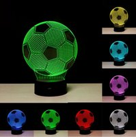 Wholesale football led night light - Creative 3D Soccer Ball Light Football RGB Colors Changing Visual Led Night Light Novelty Table Lamps Created LED Christmas Child Toy Gifts