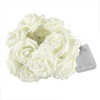 Wholesale Artificial Flower Strings - Wholesale-1pc 20 LED Artificial Rose Flower Cold White Fairy String Light Outdoor Indoor Lamp Bedroom Party Christmas Wedding Decoration