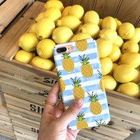 Cassa del telefono per iPhone 6 6s 7 7 Plus Ananas Carino Estate Fresco Coque Coppa Blu e Bianco Hard Back Cover Funda