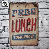 Купить Потрепанный Шикарный Винтажный Декор-8x12inch Free Lunch Tomorrow Retro Advertising Vintage Metal Signs Poster Shabby Chic Tin Signs Бар Клуб Кафе Магазин Декорация стен