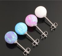 Wholesale Earring Post Nickel Free - Earring 925 sterling silver simple ear accessories opal ball 8mm shining artificial stone post nickel-free fashion jewelry