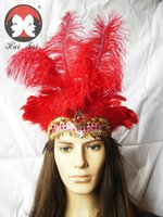 Wholesale Masquerade Headdress - Dance show headdress, red ostrich masquerade headdpieces, bar party belly dance show headdband with feather india style