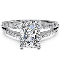 Solitaire Ring split shank engagement - 2 tcw Shiny Split Shank Radiant VS1 Diamond Engagement Ring k White Gold