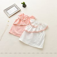 Wholesale Wholesale Sleeveless Long Blouse - 2017 INS NEW ARRIVAL Girls Kids blouse Sleeveless ruffles collar pink and white t shirt kid causal 100% cotton baby kid shirt 80-120cm