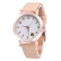 Wholesale Panda Pins - 2017 Super Design Cute Panda Leather Watch Bear Ear Casual Watch for Unisex Gold Case Wrap Quartz Wristwatch