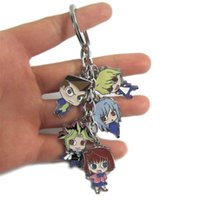 Wholesale Oh Cards - Yu-Gi-Oh TRADING CARD GAME Keychain Karasuno vs Nekoma Metal Figures Pendants Charms phone straps Key Chain Anime Cartoon with Key Ring