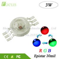 ingrosso riflettore principale rosso blu verde-50pcs chip LED ad alta potenza 3W RGB LED COB perline 3 W luce lampada 6 pin colore completo rosso verde blu per fai da te LED proiettore Spotlight