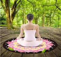 Wholesale stamping mats - Wholesale-Natural rubber stamp suede yoga mat round yoga mat
