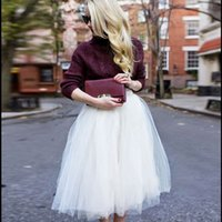 vestidos de rede branca venda por atacado-Mulheres Meninas 6 Camadas de Tule Saia Adulto Net Petticoat Tutu vestido de Baile Skater Saias Das Mulheres de Cor Branca Elegante Saia Faldas Jupe
