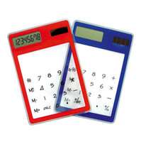 Wholesale General Power Supply - Color Transparent Ultra Thin Student Calculator Solar Calculator New fashion
