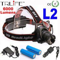 лампа накаливания основная оптовых-Wholesale-Waterproof Zoomable Headlight CREE L2 LED Headlamp Powered Head Lamp LED Headlight + AC Charger + Car Charger+18650 Battery