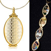 Wholesale Vintage Brass Flower Necklace - 2017 Classic Vintage Locket Necklaces Four Photos Locket Openable Cage Pendants Charms Necklace For Unisex YDHP275