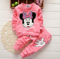 Wholesale Gray Mouse Costume - Fashion outdoor sport causal kids Costumes 2pcs set boutique clothing girl Mickey Mouse printing Long sleeve clothes