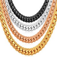 """Wholesale Gold Curb Chain Men - 6MM 18""""-32"""" Men Gold Chain 18K Yellow Gold Plated Jewelry Curb Cuban Link Chain Necklace"""