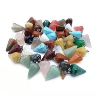 Wholesale Polished Stones Wholesale - Hexagonal Pyramid natural Stone Gemstone Charms Pendants High Polished Beads Silver Plated Hook Fit Necklace Jewelry accessories ZY1011