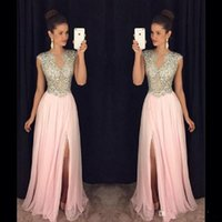Wholesale Long Purple Chiffon Dressess - Blush Pink Beaded Long Prom Dressess 2017 Gorgeous Slit Cap Sleeve Evening Gowns Sheer Chiffon A-Line Special Occasion Party Dress