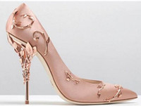 Wholesale black satin stiletto - Luxury Filigree Leaf Women Pointed Toe High Heels Haute Couture Shoes Fashion Wedding Pump Super Sexy High Heel Shoes Woman