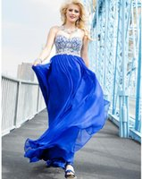Wholesale Gorgeous Sweetheart Bling - Royal Blue Beaded Prom Dresses Sweetheart Floor Length Lace-up Back Bling Bling Crystals Women Formal Evening Gowns 2017 Gorgeous Long Cheap