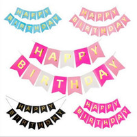 ingrosso bandiere di compleanno trasporto libero-Trasporto libero Bambini Birthday Party Decorative Swallowtail Birthday Flag Felice Lettera Banner Fishtail Flag BF004 Banner Flags mix ordine