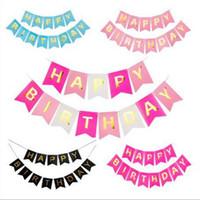 doğum günü afişleri ücretsiz gönderim toptan satış-Ücretsiz kargo Çocuk Doğum Günü Partisi Dekoratif Gidon Doğum Günü Bayrağı Mutlu Mektup Afiş Fishtail Bayrak BF004 Afiş Bayrakları mix sipariş
