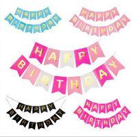 ingrosso bandiere di compleanno trasporto libero-Trasporto libero Bambini Birthday Party Decorative Swallowtail Birthday Flag Felice Lettera Banner Fishtail Flag BF004 Banner Flags mix ordine