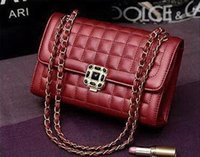 Wholesale New lady chain Diamond Lattice sheepskin single shoulder cross body bag lady fashion evening handbag black red silver grey color no75