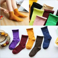 Wholesale Hot Sale Women s Socks Cotton Colorful Candy Color Girls Socks Fashion Solid Color Brand Sock