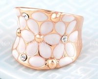 Wholesale Trendy European Fashion - 1pc high quality mother's Day gift ROXI European and American fashion oil drop rings, crystal rose, gold white flower rings size 678 free sh