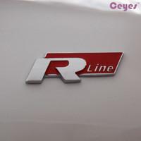 Wholesale Rio 3d - Fashion 3D Metal R line Grille Emblem Stickers Car Styling For VW Ford Focus Chevrolet cruze Kia Rio Skoda Octavia Mazda Car Accessories
