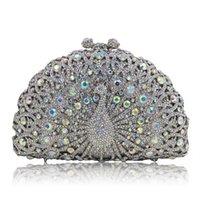 Wholesale Designer Bags Peacock - hot sale Fashion Handmade Clutch purse luxury super glittering full rhinestone diamond crystal peacock animal designer Evening Bag