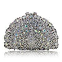 Wholesale Handmade Clutches - hot sale Fashion Handmade Clutch purse luxury super glittering full rhinestone diamond crystal peacock animal designer Evening Bag