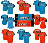 Wholesale National Customs - 2017 All-Star Game Custom Mens Ladies Kids National League American League World USA Blue Orange name&no.&team cool flex baseball jerseys