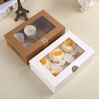 cupcake en caja al por mayor-Tarjeta de papel kraft Caja de la magdalena 6 Soportes de la torta de la taza Muffin Cake Boxes Postre Paquete de la caja portátil Seis Bandeja de regalo de regalo Favor