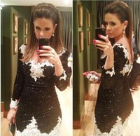 Wholesale Twinkle Tulle - Twinkling V-neck Sheath Black and White Lace Short Homecoming Dresses 2017 New Arrival Prom Dresses with Sleeve Twinkling Mini Party Dress