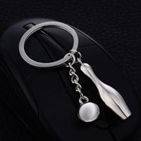 Wholesale Metal Charm Pins - 10PCS Chaveiro!Fashion Casual Bowling Pin Ball Keychains Charm Keyring Keyfobs Creative Metal Car Key Holder Jewelry Gift J026