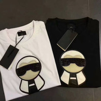 Wholesale 2017 Spring luxury Italy T shirt tee High street off whtie Nail bead galeries lafayette printing fashion clothing black white S XL