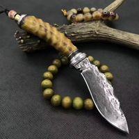 Wholesale Mini Son - Mini latest jin son Wolf Damascus fixed blade knife dog leg knives