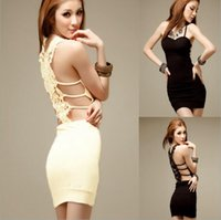 Wholesale Pad Midi - Backless Lace Condole Belt Dress Summer Hollow Out Sexy Chest Pad Skirts Club Party Dresses OOA2745